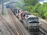 NS 9411 leads coal loads through East Conway as 3001 waits